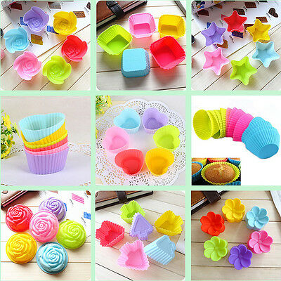 12PCS Silicone Cake Cupcake Mold Case Muffin Chocolate Cookie Baking Mould DIY