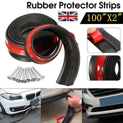 100''Universal Car Front Bumper Spoiler Side Rubber Splitter Lip Skirt Protector
