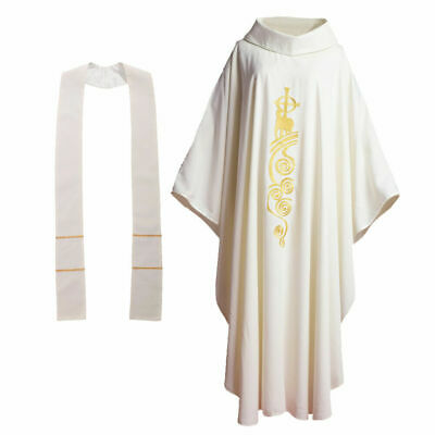 White Chasuble Catholic Church Lamb Embroidered Priest Vestments w Roll Collar