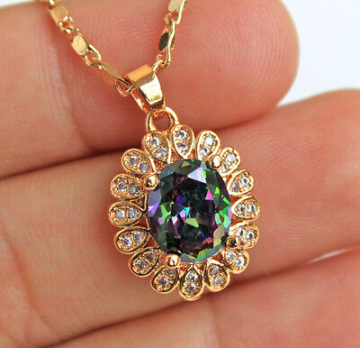 18K Yellow Gold Filled - 10MM Oval MYSTICAL Topaz Gems Cocktail Pendant Necklace