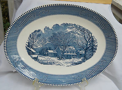 "Currier & Ives Royal China Blue Oval Serving Platter 13"" Old Inn Winter Horse"