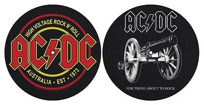 AC/DC High Voltage For Those About Pair DJ Record Turntable Slipmat Decks Vinyl