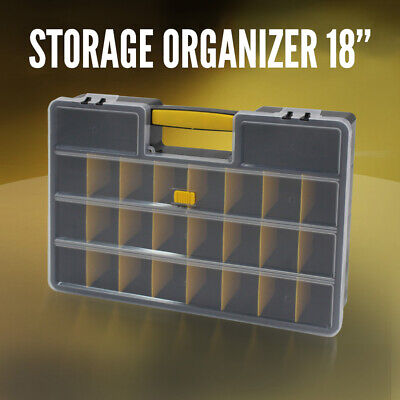 "Storage Organiser Plastic 18"" w/ 26 Compartments, Tool Box Case Organizer Bin"
