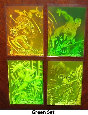 1994 Amazing Spider-Man YELLOW/GREEN HOLOGRAM Insert Set of 4 Cards NM-M, Marvel
