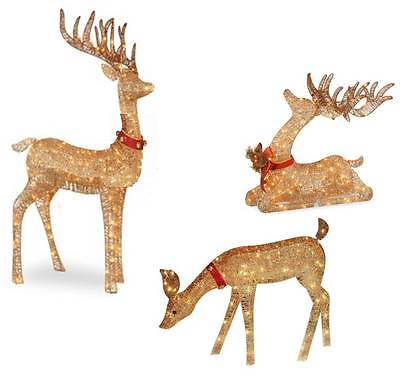 OUTDOOR LIGHTED PRE LIT 3-Pc Deer Family DISPLAY CHRISTMAS YARD ART DECOR #10098