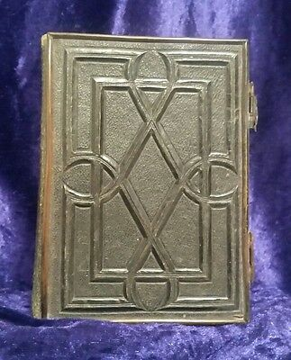 Antique Victorian Leather Bound Photograph Album + 12 Photographs