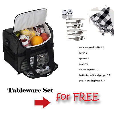 Thermal Insulated Lunch Bag Cooler Messenger Bag Picnic Carry Tote Tableware Set