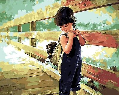 Framed Painting by Number kit Boy and Dog Favour Child Going Home Baby BB7641