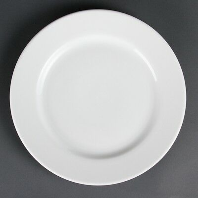 6x Olympia Whiteware Wide Rimmed Plates 310mm Serving Kitchen Tableware
