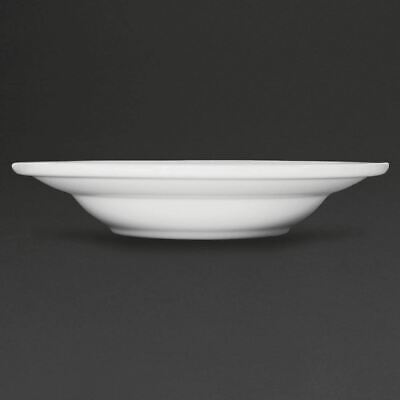 """Athena Hotelware Rimmed Soup Bowls in White Porcelain 228(Ø) mm 9"""" 6 pc"""