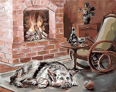 Framed Painting by Number kit Warm Living Room Dog Near The Hearth DIY BB7644