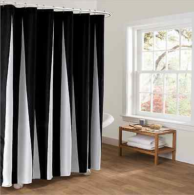waterproof Black White Fabric Bathroom Shower Curtain Liner Polyester