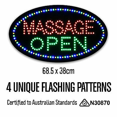 Round Epoxy Resin MASSAGE OPEN LED Sign Parlour Shop Business High Quality
