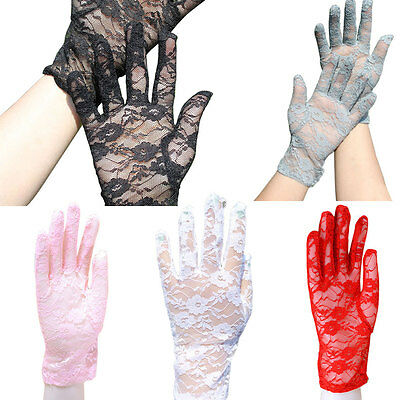 Girls Sun Protection Lace Hollow-Out Gloves Skid Resistance Pattern Lace Gloves