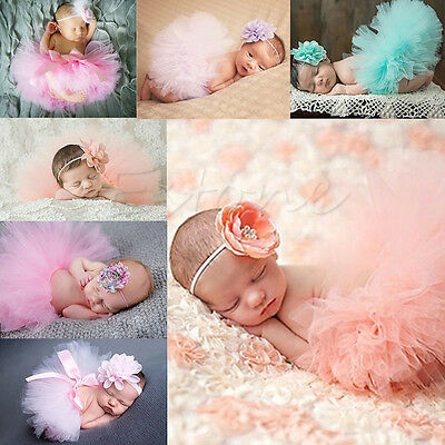 Newborn Baby Cute Tutu Clothe Skirt Girl Headdress Flower Photo Prop Outfits Set