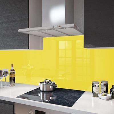 Yellow tempered Glass Kitchen Cooker Hob Splashback Wall Safety Guard 100 x 60cm