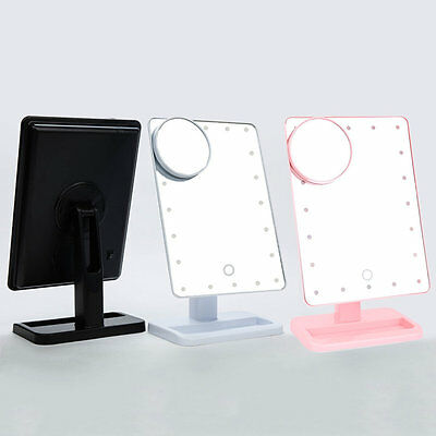 3C Magnifier LED Touch Screen Makeup Mirror Portable 20 LEDs Lighted Cosmetic AO