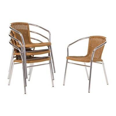 4X Bolero Aluminium and Natural Wicker Chair Restaurant Cafe Furniture