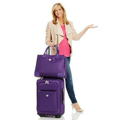 Joy Mangano TuffTech Luggage with Matching Travel Tote - Color Purple