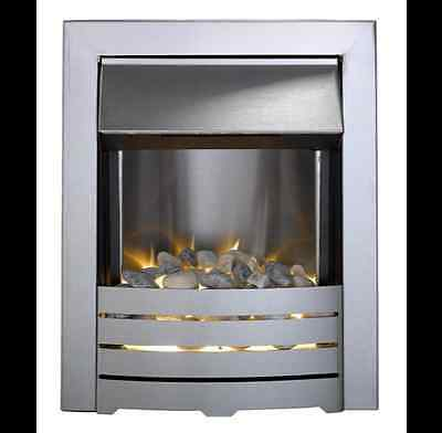 Electric Fire Silver Inset Led Glow Effect Pebble Electric 2Kw Stainless Steel