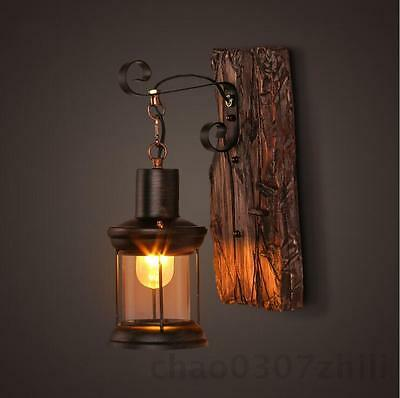 Vintage Industrial Retro Metal Wood Sconce Cafe Wall Lamp Fixture Wall Light