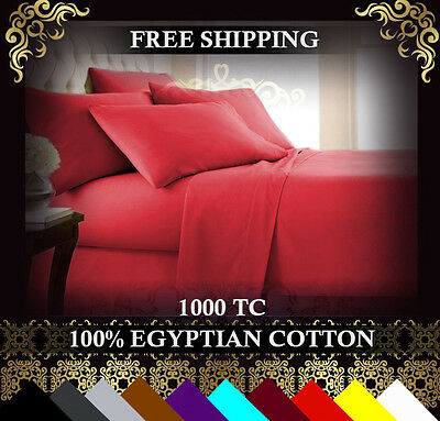 1000TC ORIGINAL 100% Egyptian Cotton Queen or King Size Bed Sheet Set. 4 Pieces