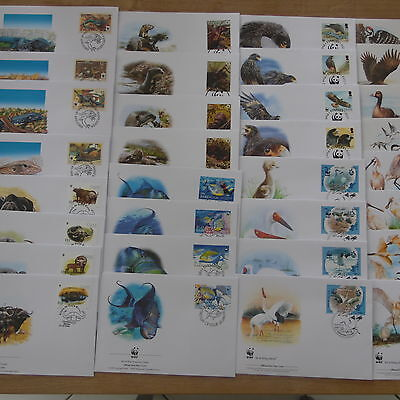 Lot Timbres Animaux  Wwf 5  Series Completes Fdc Soit 20 Fdc Animaux Promotion
