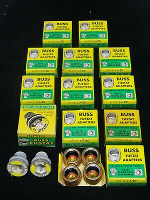 LOT OF 12 ~ BUSSMANN ~ BUSS FUSTAT ADAPTERS ~ Four S A 20 ~ 4 S A 3 2/10 ~ NEW