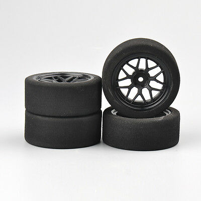 4PCS 12mm Hex Foam Tyre Wheel Set 23002 Fit 1/10th Scale  On-road RC Car