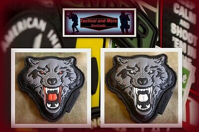 Ready to patch 3D Rubberpatch New Angry Wolf Head m. Klettrückseite