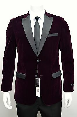 Men's Burgundy Velvet Tuxedo Jacket w/ Satin Peak Lapel & Trim SIZE 52L New