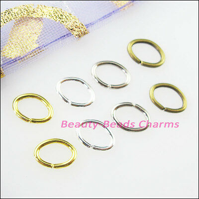 Oval Jump Rings Open Connectors Gold Dull Silver Bronze Plated 5x7mm 7x9mm