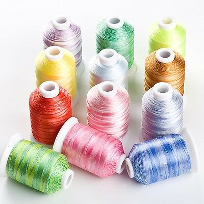 12 Variegated Color Polyester Embroidery Machine Thread for Most Home Embroid...