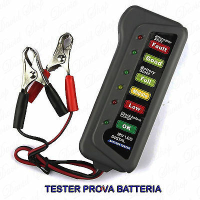 Tester Digitale Prova Batterie Auto Moto 12V a Led Test Batteria