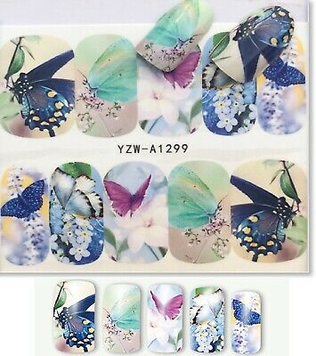 Nail Art Decals Transfers Stickers Multicoloured Butterflies (A-337)