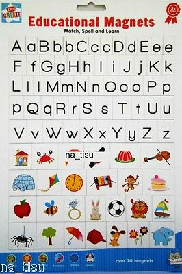 FRIDGE MAGNETS LETTERS PICTURES Alphabet educational toy kids SPELL MATCH