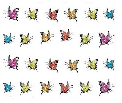 Nail Art Decals Transfers Stickers Multicoloured Butterflies (A-350)