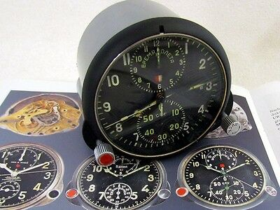 AChS-1 VINTAGE RUSSIAN AIR FORCE HELICOPTER MIG PANEL CHRONOGRAPH CLOCK