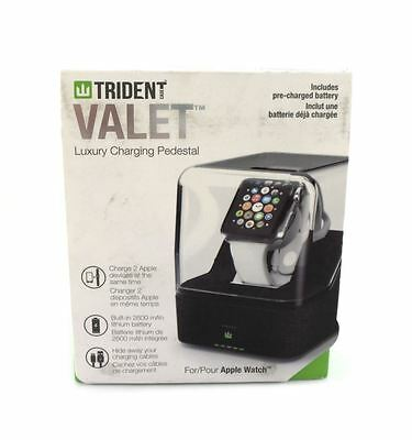 Trident Case Valet Luxury Charging Pedestal for Apple Watch Black Leather