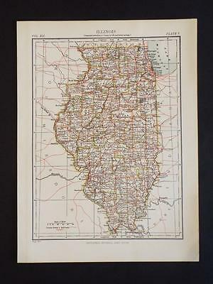 OLD VINTAGE MAP OF ILLINOIS STATE & COUNTIES U.S.A - ANTIQUE COLOUR PRINT c1910