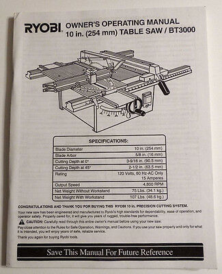 Ryobi Owner's Manual 10 Inch Table Saw BT3000 972000-293 3-99 French Spanish