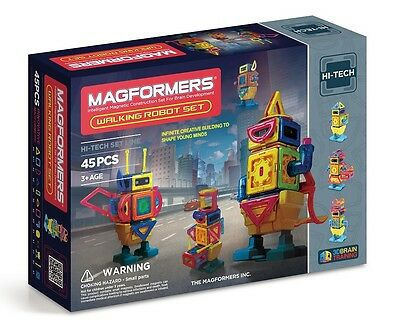 63137 New Magformers 45 piece Walking Robot Set Magnetic Construction