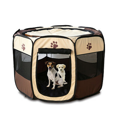 Foldable Pet Dog Cat Play Pen Fence Crate Puppy Tent Outdoor House Portable Cage