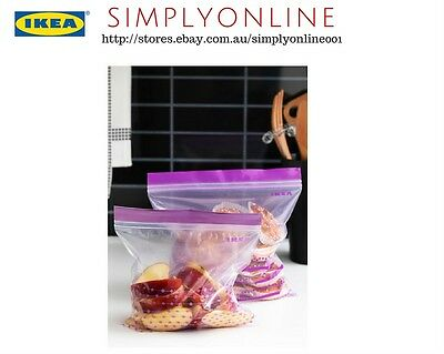 50x IKEA ISTAD Medium Plastic Food Storage Resealable Reusable Zip Freezer Bags
