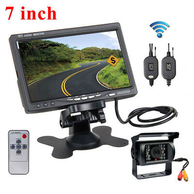 "2pc Back up Camera RV Truck Bus Van IR Rear View Night Vision System+7"" Monitor"