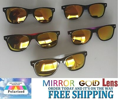 Polarised Wayfarer Sunglasses GOLD Mirror Lens - Ex Quality - FREE POST IN AUS
