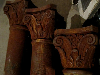 4 Vintage Cast Iron Columns Ornate 103 Inches Tall ~Architectural Salvage