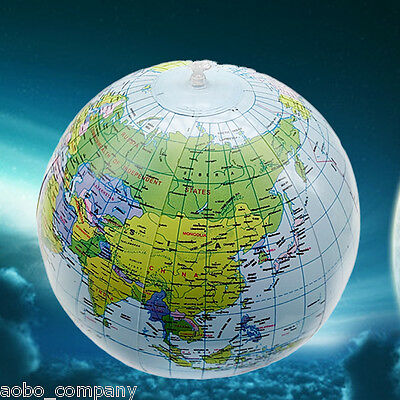 "INFLATABLE GLOBE 40cm/16""  Atlas World Map Earth Geography Ball Educational Toys"