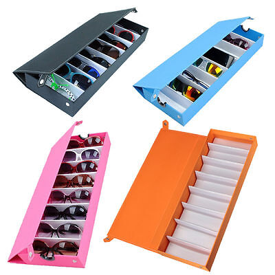 Rectangle Solid Color 8 Grid Eyeglass Sunglasses Storage Holder Box Organizer