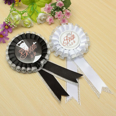 Groom/Bride To Be Badge Brooch Rosette Hen Night Party Bachelorette Fancy Dress
